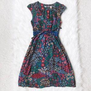 Derek Heart Dress / Short-sleeve Floral Button Tie